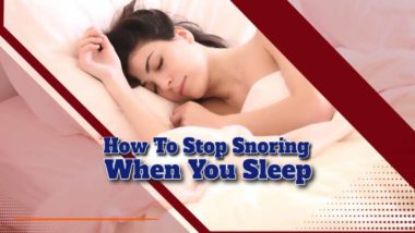 "Featured image text: ""How to stop snoring when asleep""."