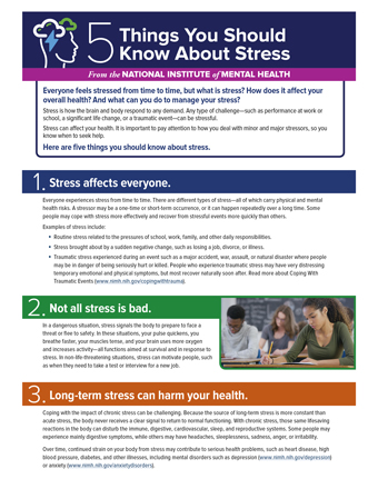Stress information from the National Institute of Mental Health