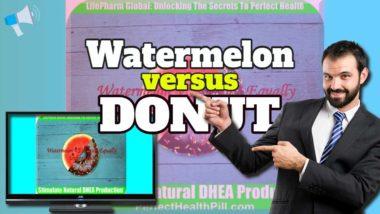 "Image text: ""Watermolon vs Donut"" - High Blood Sugar in Diabetics."